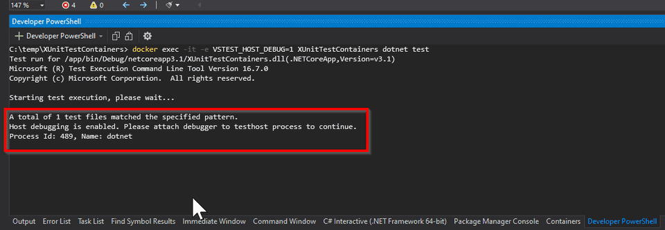 Attach debugger to dotnet test