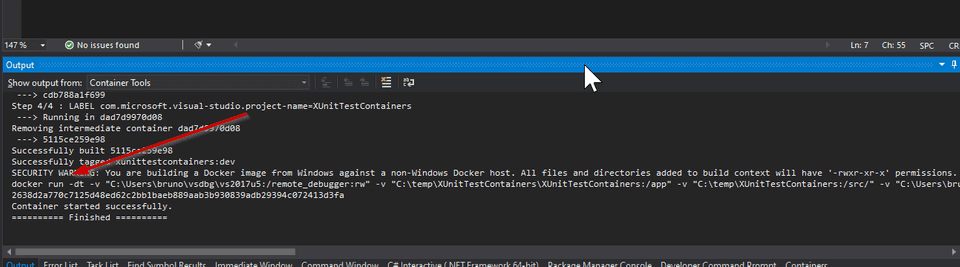 VS Docker Run Command